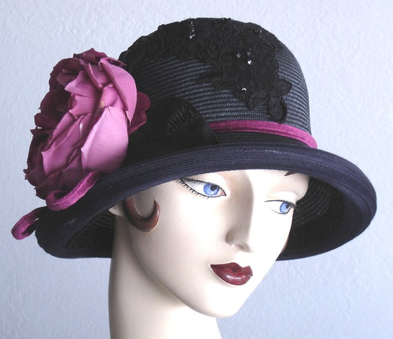Straw Cloche Hat In Midnight Blue