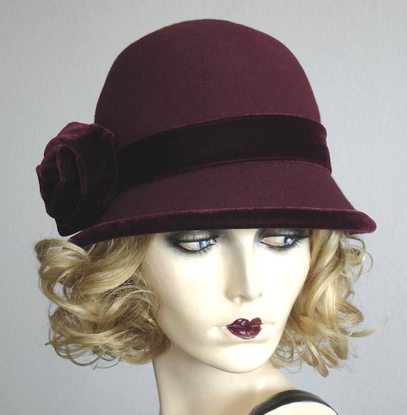 Wine And Velvet - Felt Cloche Hat