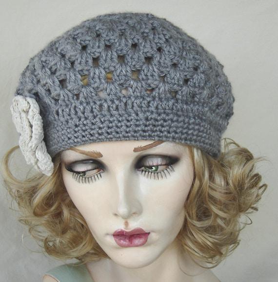 Gray Beret Style Newsboy Cloche Winter Crochet Hat
