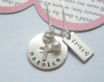 Special Girl - Special Date.. Girls Hand Stamped Personalized Name Necklace-Communion, Baptism, Adoption, Gotcha Day