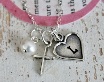 Girls Cross Necklace Baptism Gift, confirmation,  first communion gifts ..Flower Girl Gift... Sterling Silver Childrens Jewelry