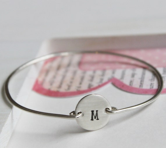 Girls Bangle Bracelet Personalized Initial Sterling Silver .... Flower Girl, Baptism, Communion Gift ...Initially Special
