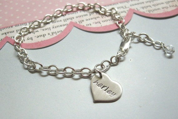 Charming Bracelet .... Personalized Hand Stamped Girls Name Charm Bracelet ...Hand Stamped Jewelry Bracelet