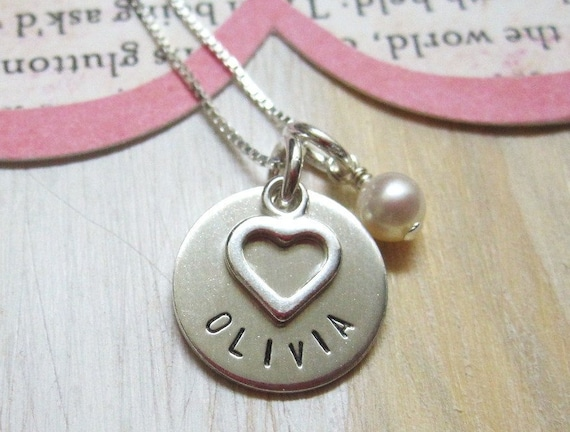 Love my Girl .. Girls Hand Stamped Personalized Name Necklace ... Personalized Jewelry
