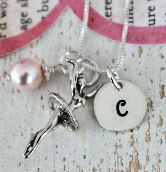 Ballerina Necklace ..Ballet Recital Gift,  Girls Personalized Necklace, Sterling Silver Charms, Hand Stamped Childrens Jewelry