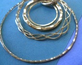 Sale Necklace - Gold Circles Necklace. 14k Gold Plated Brass. 18 inch.  Was 40.00.