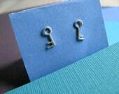 Tiny Key Stud Earrings Sterling Silver