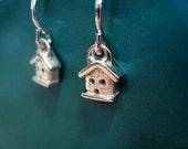 Teeny House Dangly Earrings Sterling Silver