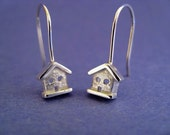 Teeny Sterling Silver House Dangle Earrings