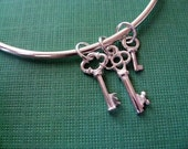 Key Charm Bangle Bracelet Sterling Silver Three Keys