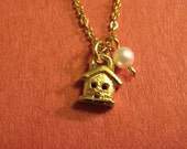 14k Gold Plated Teeny House Necklace with Pearl