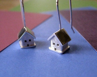 Tiny House 3D Earrings. Sterling Silver