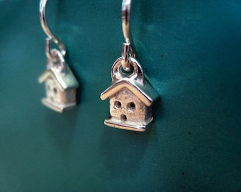 Teeny House Dangly Earrings Sterling Silver