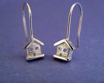 Teeny Sterling Silver House Dangle Earrings
