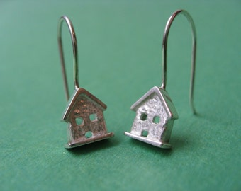 Tiny House Dangle Earrings. Sterling Silver.