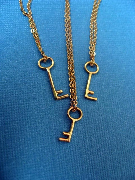 RESERVED.  Two Gold Plated Key Necklaces.