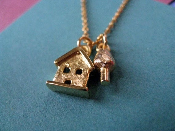 SALE Necklace - Was 38.00.  Gold Plated Tiny House and Tree Necklace