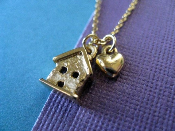 Sale Necklace - Was 38.00.  Gold Tiny House and Heart Necklace.  14k Gold Plated Brass.