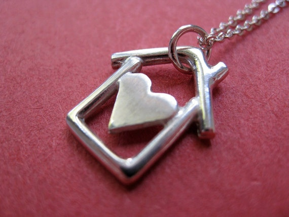 Home is where the heart is Necklace. Sterling Silver.