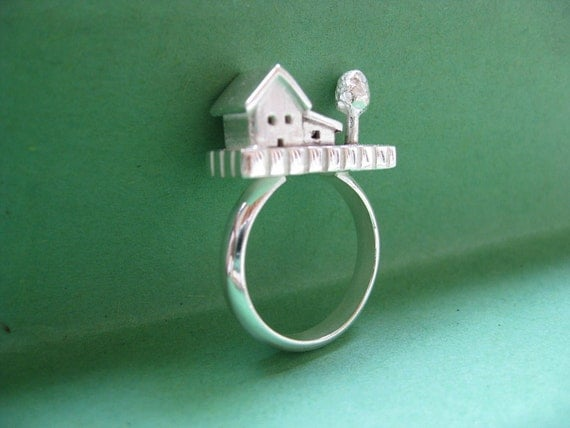 House and Tree Ring Sterling Silver Statement Ring