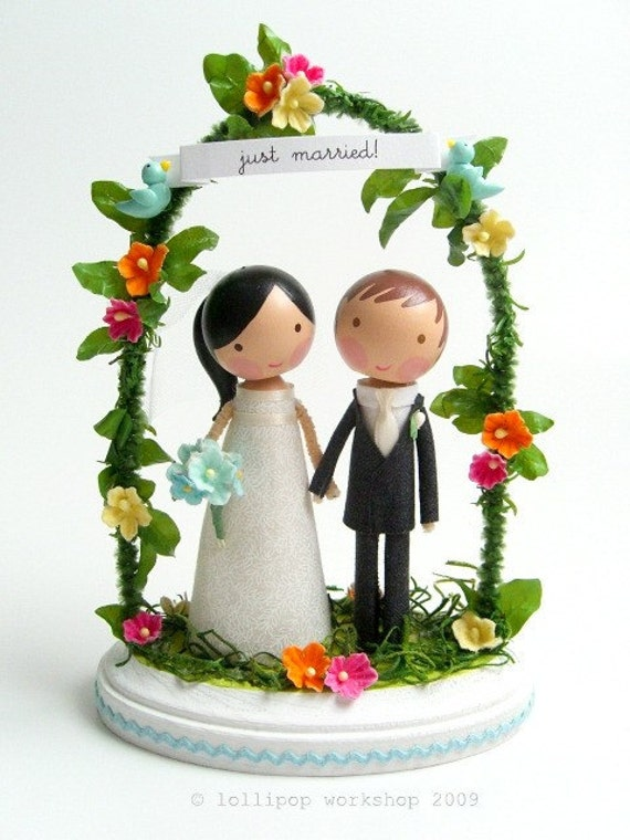 custom wedding cake topper with arch - you choose the details