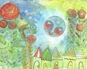 Moon,Baby room, Nursery wall art Decor, Art for Kids, 8 x 10 Whimsical  Mixed Media  Print by Shelley Szczucki