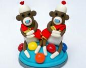 Baby Shower Twin Sock Monkey Cake Topper
