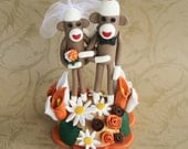 Autumn Sock Monkey Wedding Cake Topper 5 inch tall- Custom Made with extra flowers