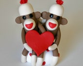 Sock Monkey Valentine Lovers w Heart Wedding Cake Topper and/ or Ornament Custom
