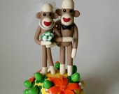 Summer Sock Monkey Wedding Cake Topper  5 inch tall- Custom Made with extra flowers