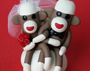 Sock Monkey Wedding Cake Topper Cupcake and/ or Ornament