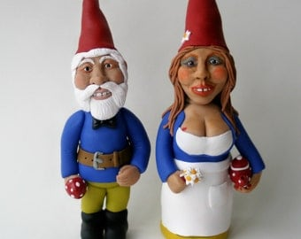 SALE! Gnome Sculpture Wedding Anniversary Art Dolls Cake Topper Ready to Ship