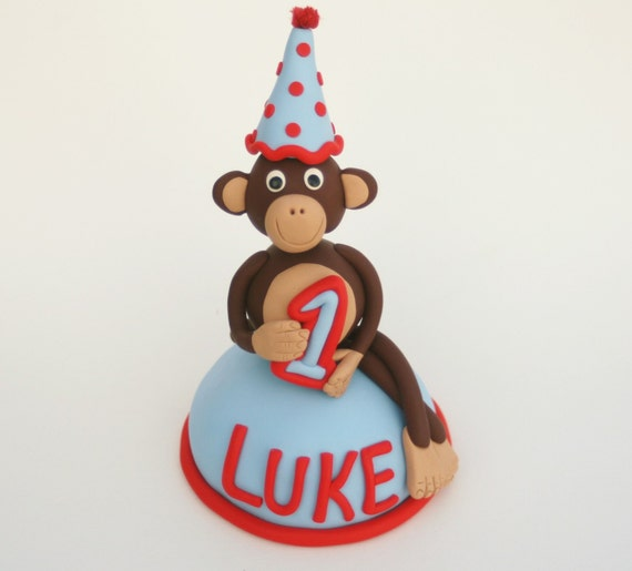 Mod Monkey Cake Topper With Your Child's Name