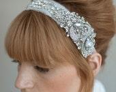 Bridal rhinestone headband - Rhinestone adorned silk chiffon headband - Style 011 - Made to Order