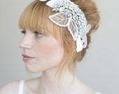 Bridal rhinestone headpiece - Crystal, tulle and velvet head piece - Style 010 - Made to Order