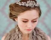 Bridal rhinestone headpiece - Rhinestone rose and leaf tiara - Style 112 - Made to Order