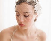 Bridal birdcage veil with flowers - Lace embellished bandeau birdcage veil - Style 214 - Made to Order