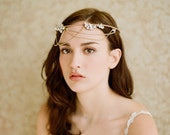 Bridal halo, tiara, headband with rhinestones - Golden whimsy crown with swags - Style 237 Made to Order