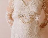 Bridal sash, bridal belt, rhinestones, lace, beads - Flutter and dangle bridal belt - Style 229 - Made to Order