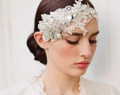 Floral bridal headpiece, rhinestones, lace headband - Embellished lace and rhinestone headpiece - Style 252 - Made to Order