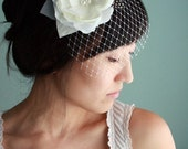 Lovely and modern bridal hair piece, silk flower, detachable DewDrop veil, feathers