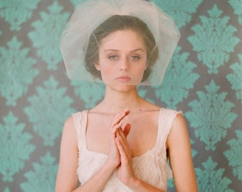Bridal tulle birdcage veil - Double layer full tulle birdcage veil - Style 131 - Ready to Ship