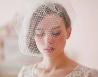 Bridal birdcage veil - Double layer full birdcage veil - Style 213 - Ready to Ship