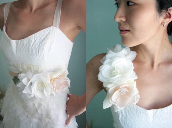 Bridal belt, dress flowers, necklace, strap embellishment, hair piece