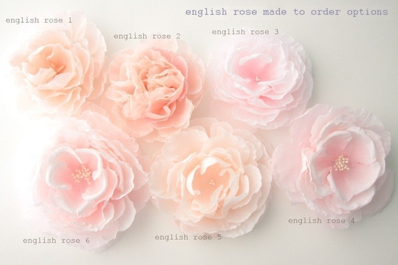 Custom English Rose - Handmade, hand dyed, hand painted bridal hair flower - Made to Order