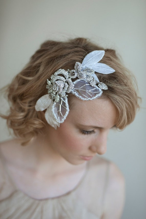Rhinestone bridal headpiece, hair comb, Rhinestone and tulle leaf head piece - Style 037 - Made to Order