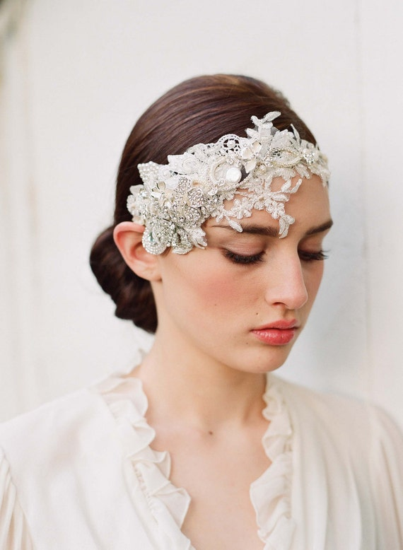 Items similar to Floral bridal headpiece, rhinestones ...