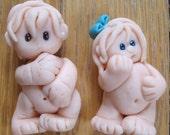 Hand Sculpted Polymer Clay Mini Girl Boy Blue Bow