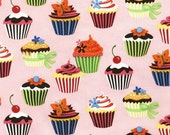 FUSSYCOUTORE Robert Kaufman SWEET TOOTH Cupcakes Fabric in CAMELLIA Pink