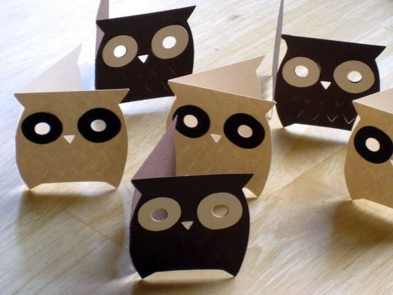 mini owl cards - set of 6 - with envelopes  - adorable